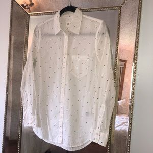 GAP Fitted Boyfriend Shirt with Swiss Dots